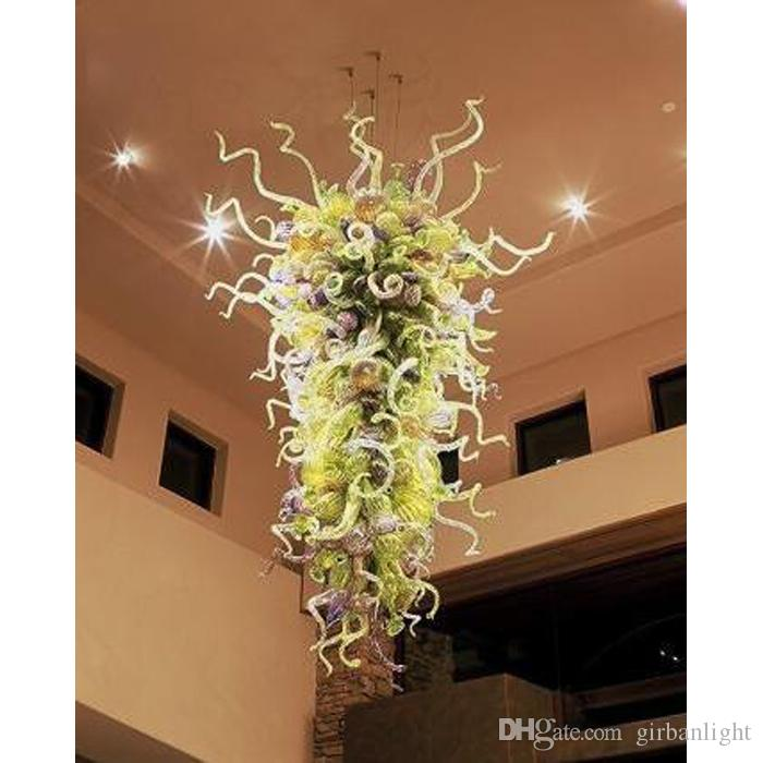 100% mundgeblasenes Glas Pendelleuchten für Hotellobby Dekor Energiesparende Lichtquelle Dekorative Hängende Glas Moderne Kunst Kronleuchter Beleuchtung