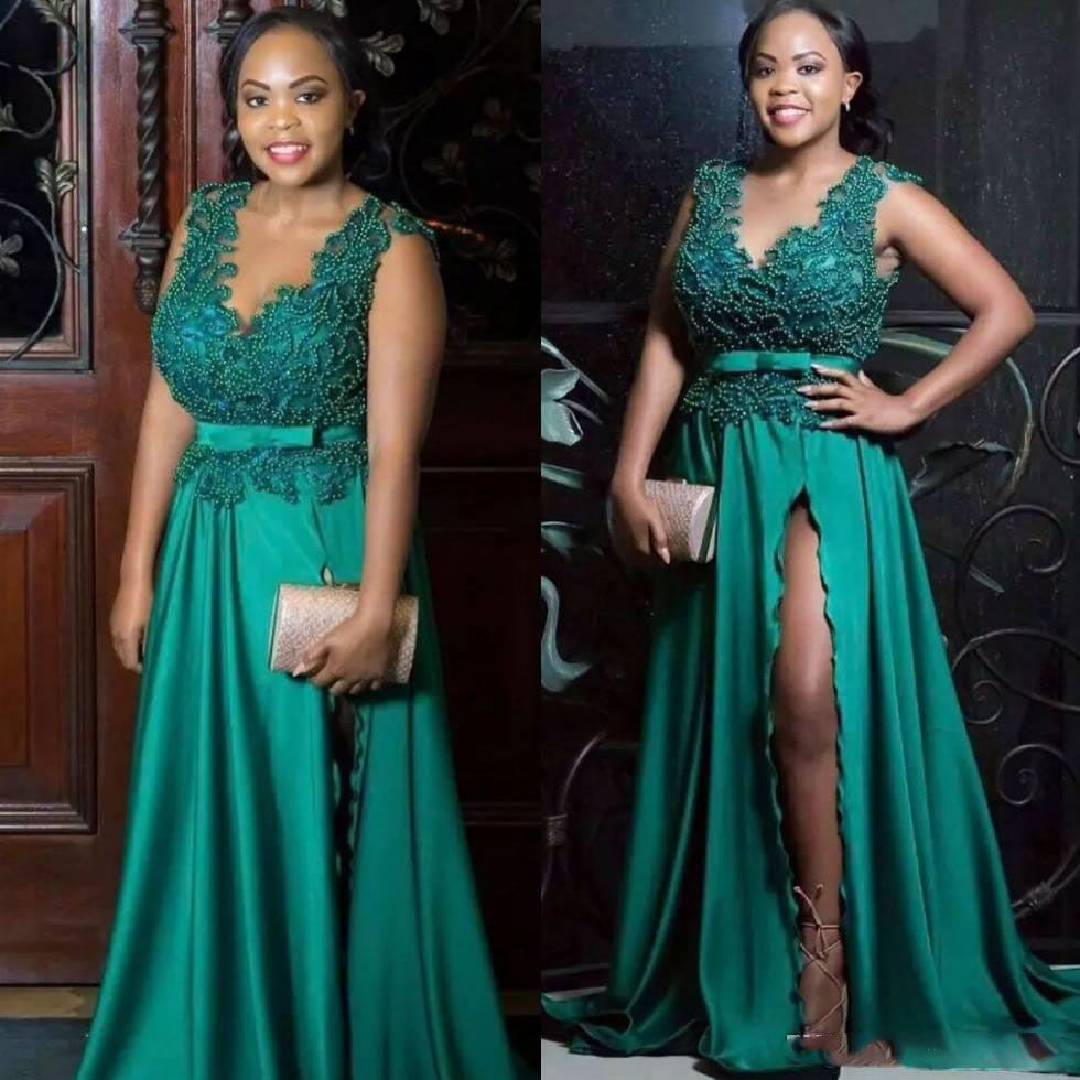 2018 Sexy Perlen Abendkleider Mit V-ausschnitt Split Side Abendkleider Mit Schärpe Sweep Zug Eine Linie Formale Afrikanische Kleid