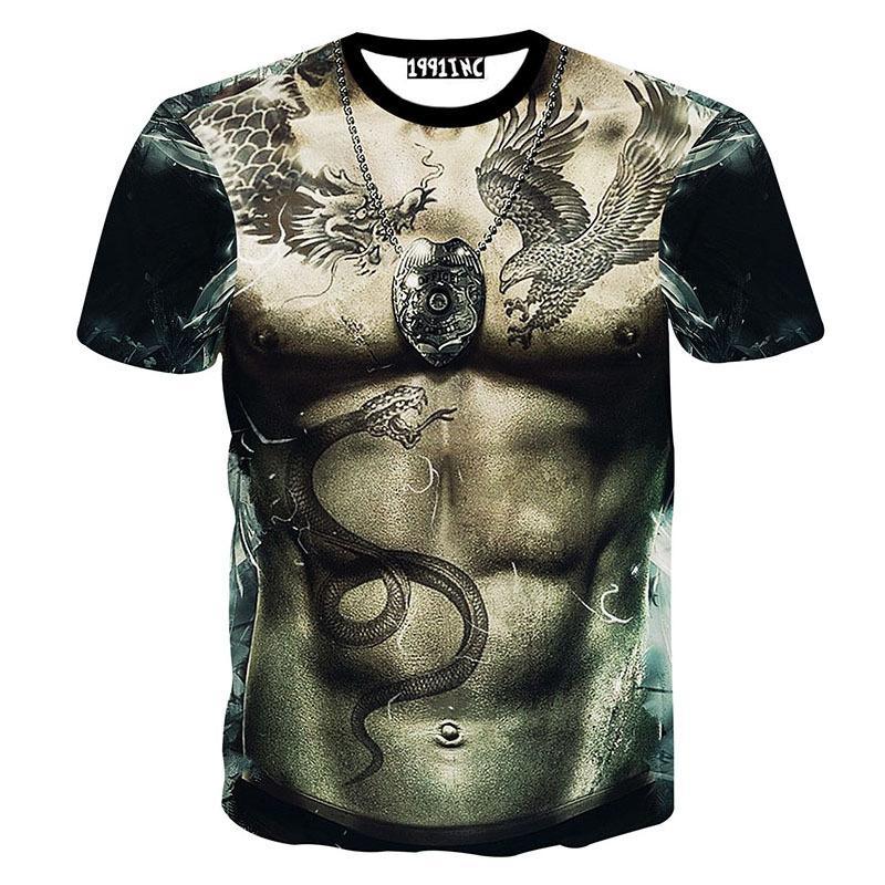 Verano nuevo divertido 2016 desnudo desnudo para hombre del cuerpo de la impresión del tatuaje camiseta de hip hop camiseta hombre hombre tops camisetas único 3d impreso