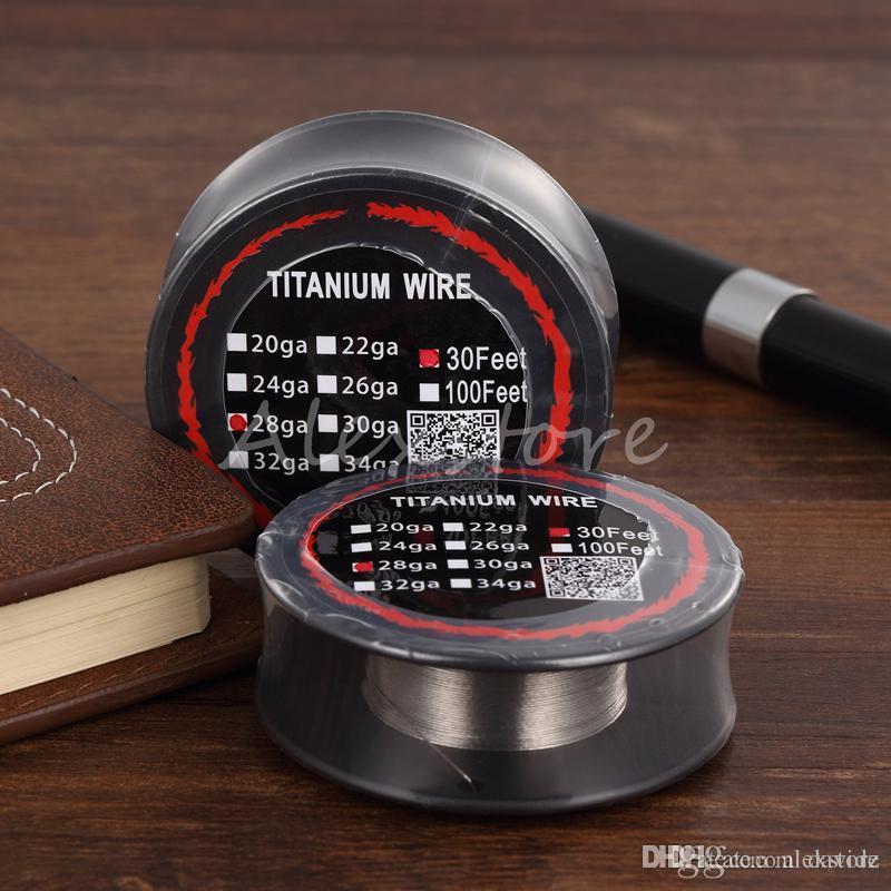 10 Stks Titanium Draadweerstand 30 Voeten TA1 TI AWG 26G 28G 30G Gauge Coil Roll voor Temp Control TC Vape Mod Electronic Sigaretten