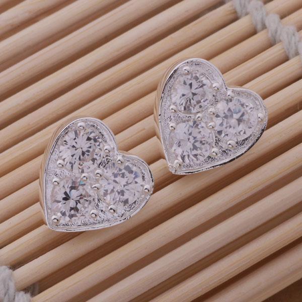 Fashion (Produttore di gioielli) 20 pezzi molto Cuore 3 orecchini di diamanti 925 gioielli in argento sterling prezzo di fabbrica Moda brillare Orecchini
