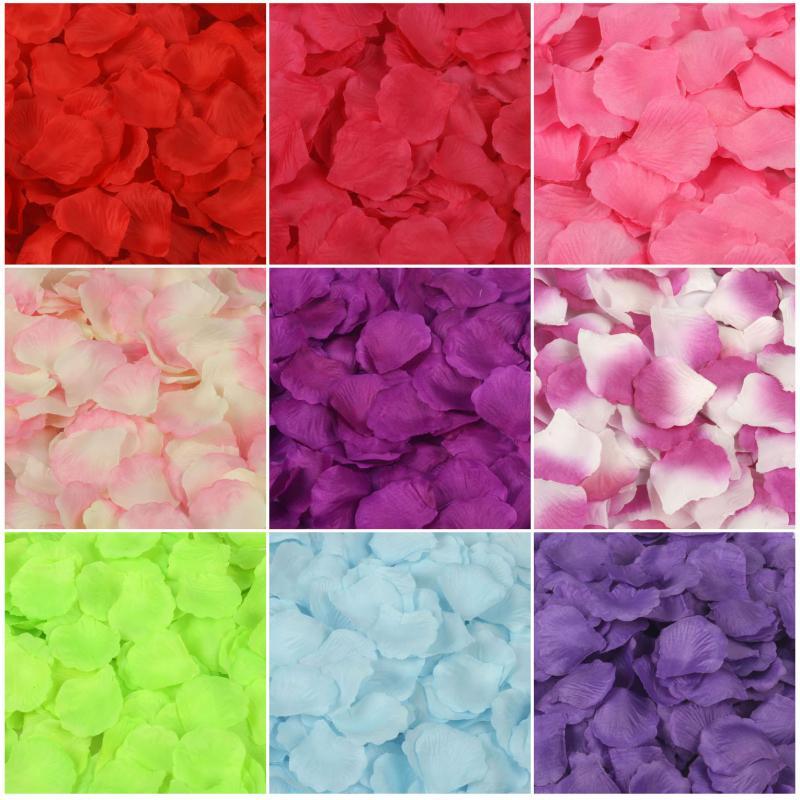 4000 개 레드 실크 장미 꽃잎 인공 꽃 웨딩 파티 꽃병 장식 신부 샤워 호의 중심 색종이