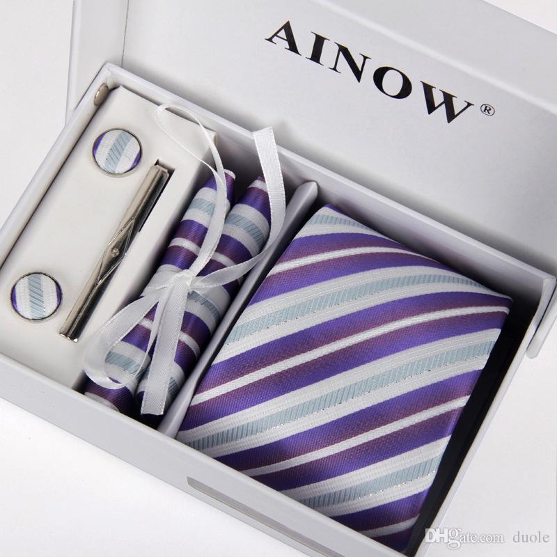 Neck tie set handkerchief Cufflink Necktie clips Gift box 16 colors for Father's Day Men's business tie Christmas Gif