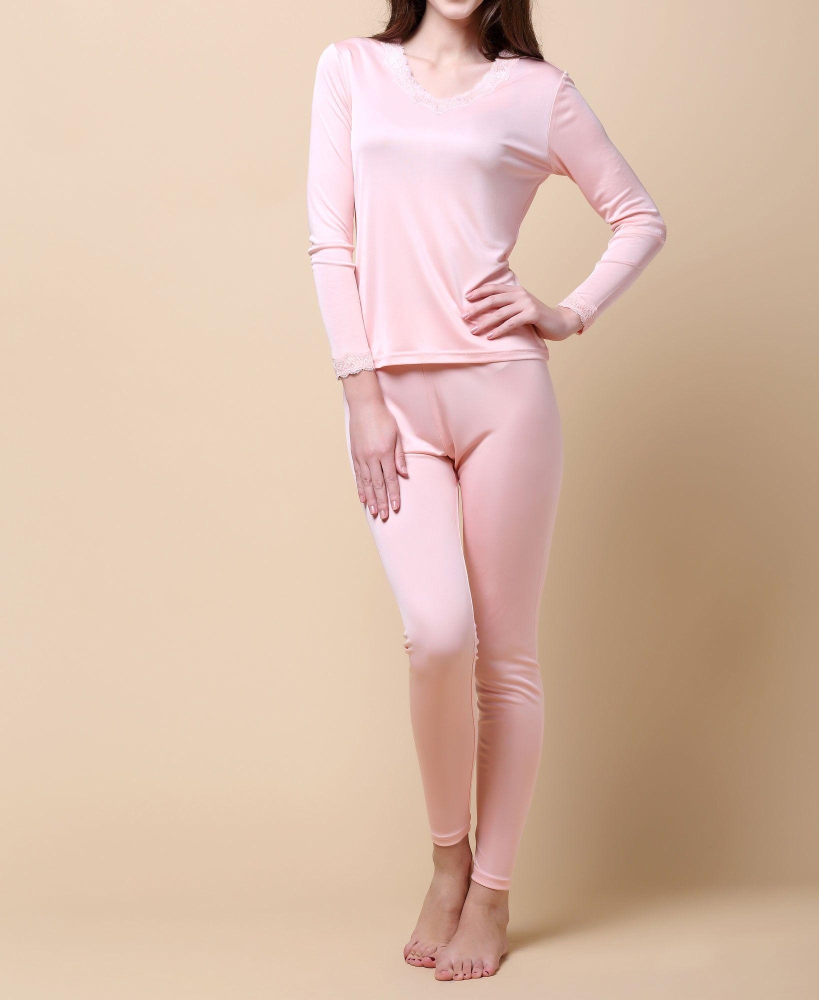 Mujeres Long Johns 100% pura seda de punto de jersey doble del V escote Long Johns Conjunto térmica conjunto de ropa interior Tamaño M L XL XXL