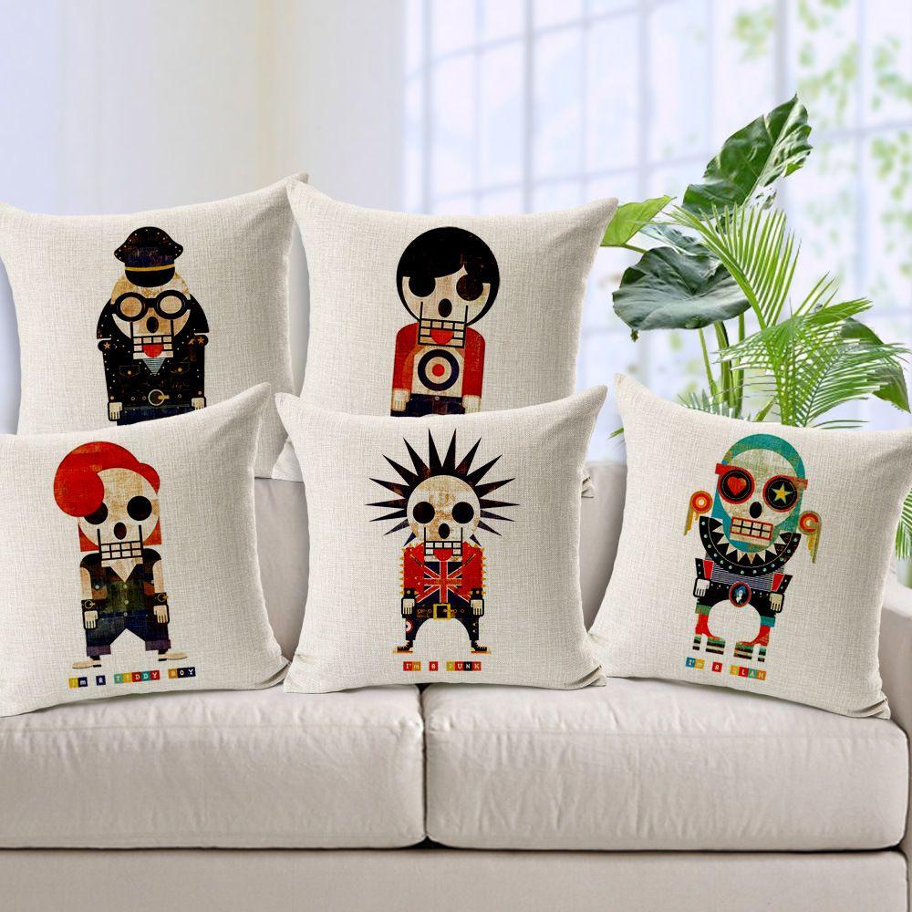 Панк-рокер череп чехлы 5 стилей диван подушки охватывает 45X45cm толстый лен хлопок наволочка диван стул украшения