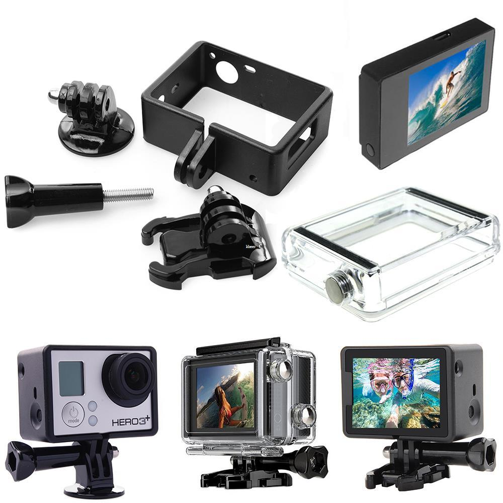Freeshipping For GoPro Hero 3 3+ 4 LCD Screen BacPac Display+Expanded Frame With Buckle Mount+Adapter+Backdoor Case Cover