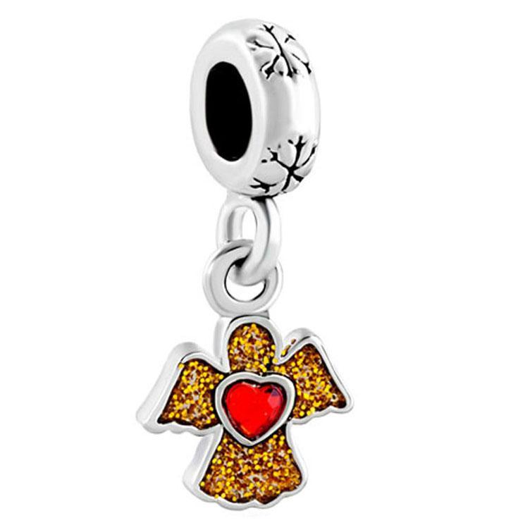 Золото плакировкой Хрустальное сердце Ангела мотаться очарование блеск эмали бусины Fit Пандора chamilia Бьяджи браслет