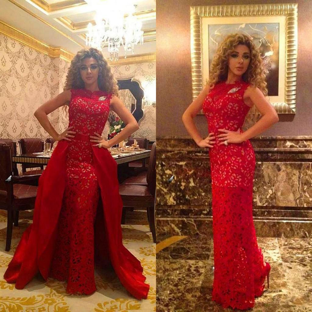 Wspaniałe Myriam Taryfy Sukienka Płaszcz Kolumna Koronki Bez Rękawów Długość Długość Wieczorowa Suknie Formalne Prom Suknie Odpinany Potargany Spódnica Czerwona