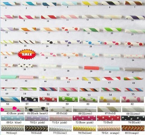 1000 pcs Frete grátis Canudos De Papel Chevron Padrões Listrado Polka Dots Canudos De Papel Bebendo 92