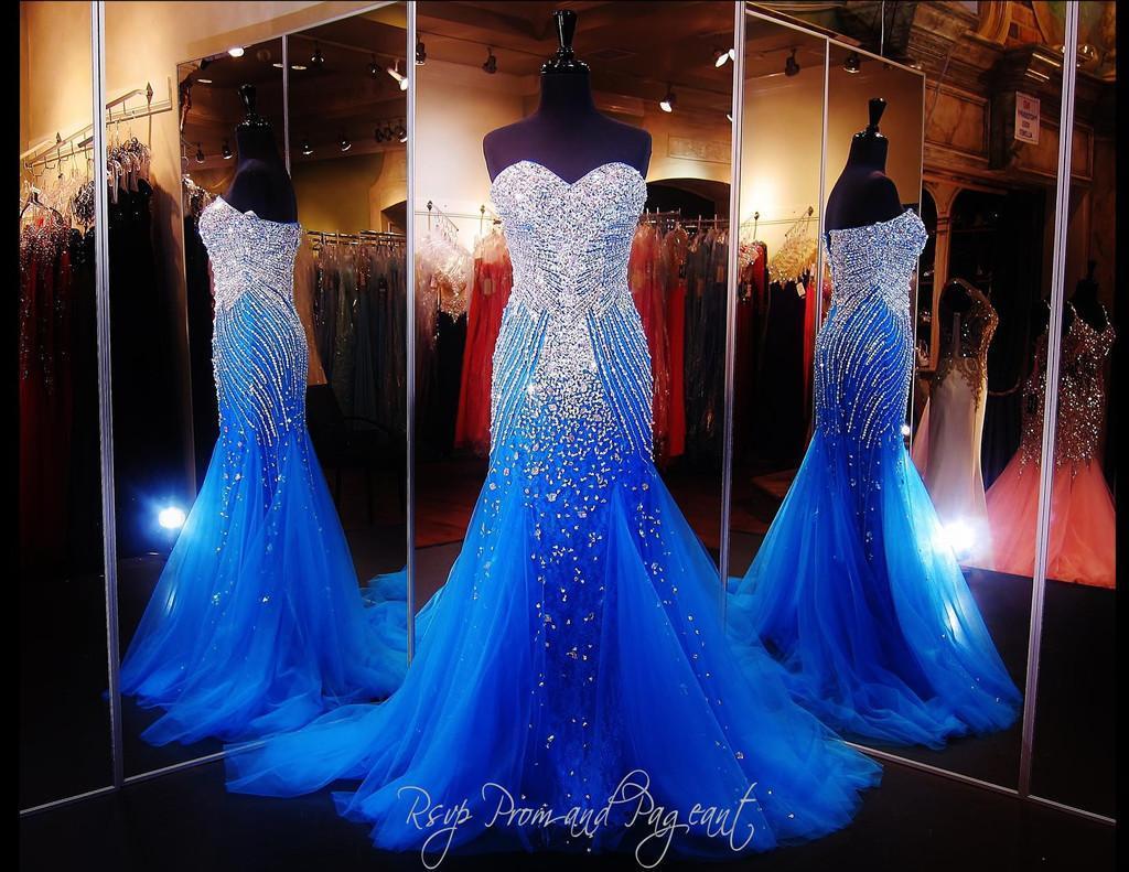 Royal Blue Erstaunliche Abendkleider 2017 Mermaid Schatz Major Perlen Sexy Rücken Tier Tüll mit Strasssteinen Prom Pageant Kleider