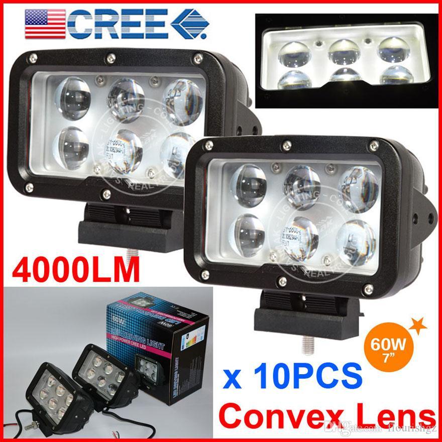 "10 ADET 7"" 60W CREE 6LED * 10W Sürüş İş Işık Dikdörtgen Offroad SUV ATV 4WD 4x4 Nokta Işın 9-60V 6000lm Oto Kamyon Forklift ile Konveks Lens"