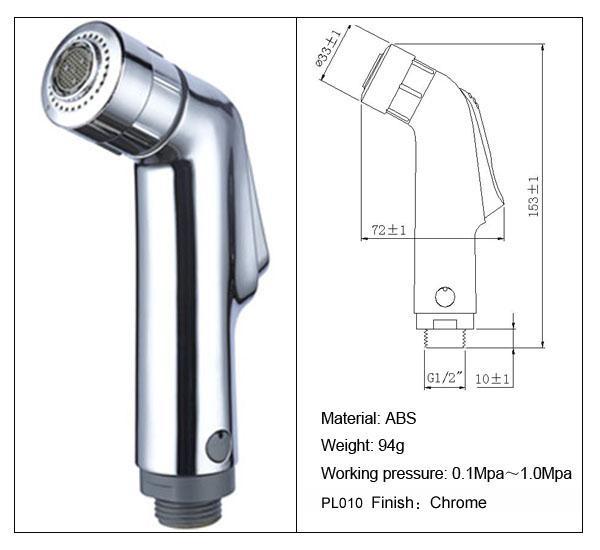 Chrome ABS Portable Bidet Hand Held Shower Head Bidet Toilet Spray