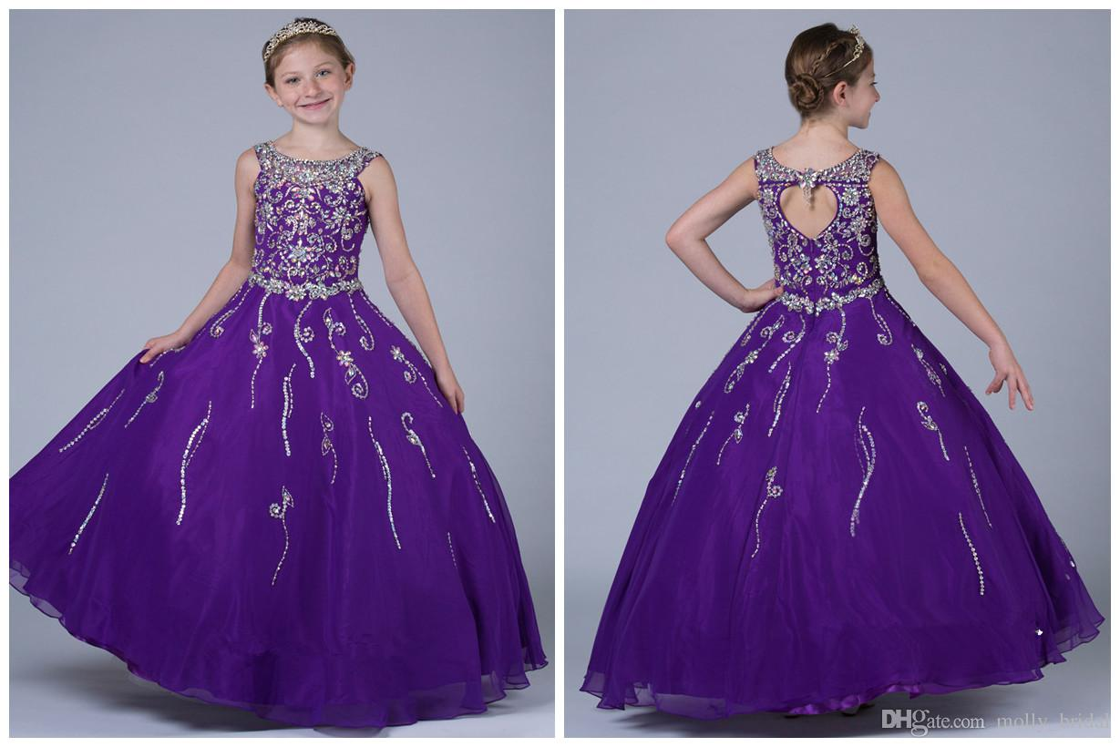 Long Purple Girls Pageant Dresses 2017 Ball Gown Floor Length Shiny ...