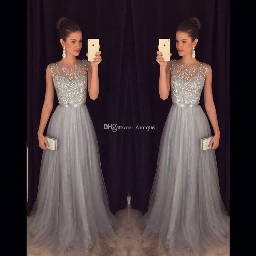 Großhandel 10 Grau Lange Abendkleider Perlen Tüll Pailletten A Line Lange  Formelle Kleid Kleider Vestidos De Baile Kaufen Direkt Aus China Von