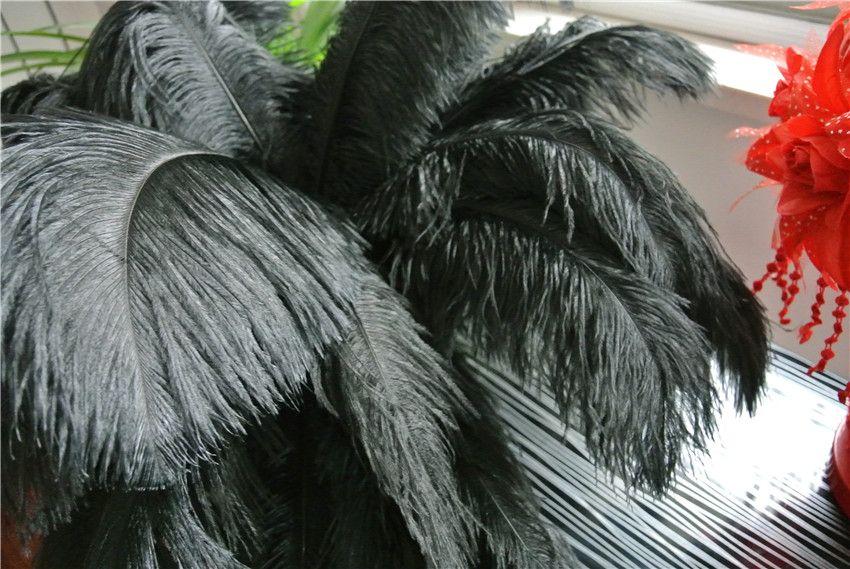 Commercio all'ingrosso 100 pz per 12-14 pollici nero piume di struzzo plumes per centrotavola di nozze decorazione di nozze forniture per feste decorazione del partito