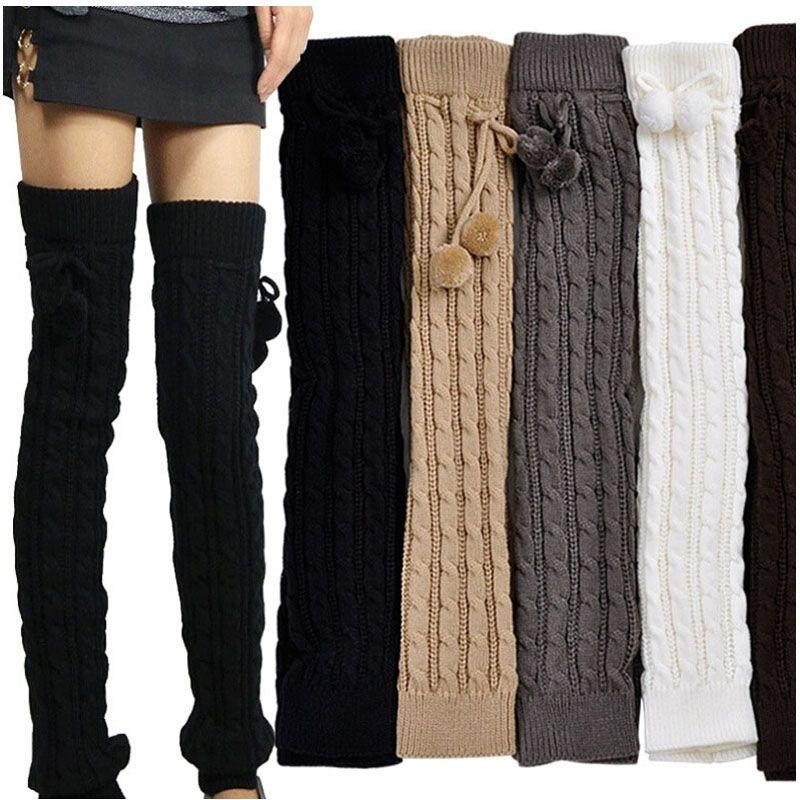 Mode Hiver Femmes Sur Genou Haut Twist Jambières Chaud Tricot De Laine Crochet Legging Couverture Bas Long 10 paires / lot Livraison Gratuite