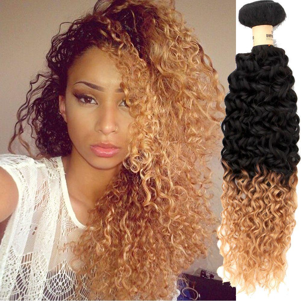 Perruque 1b27 Blonde Peruvian Hair Weave Curly Ombre Peruvian Afro