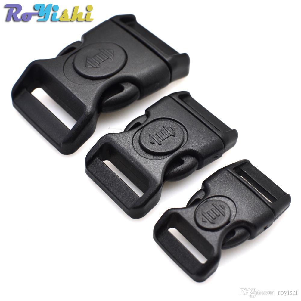 20pcs / lot kunststoff schwarz gebogene schnalle w / schloss für paracord armband side release schnallen tasche case zubehör