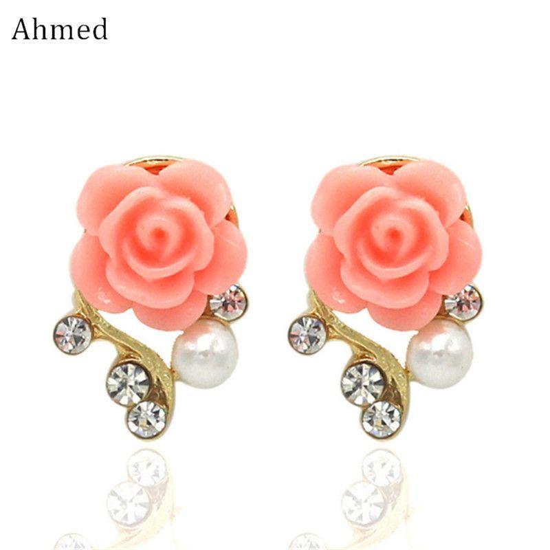Bijoux Nouvelle Marque Design Alliage Rose Perle Boucles D'oreilles Pour Les Femmes 2017 Nouveaux Accessoires En Gros