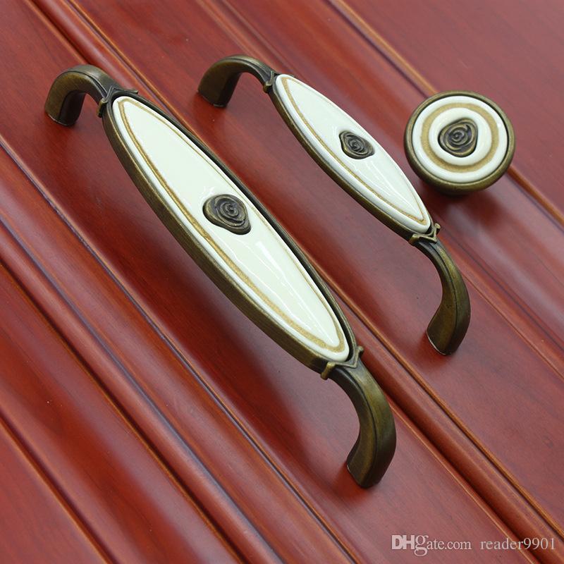 ancient bronze vintage ceramic single door pull/knob for cabinet kitchen drawer antique copper rose handle furniture #274