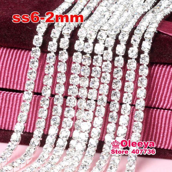 ss6 2 mm 10 yardas de cristal cerrar coser en la cadena de la taza de diamantes de imitación recorte de garra de metal costura Rhinestone de recorte para mujer vestido Y2959