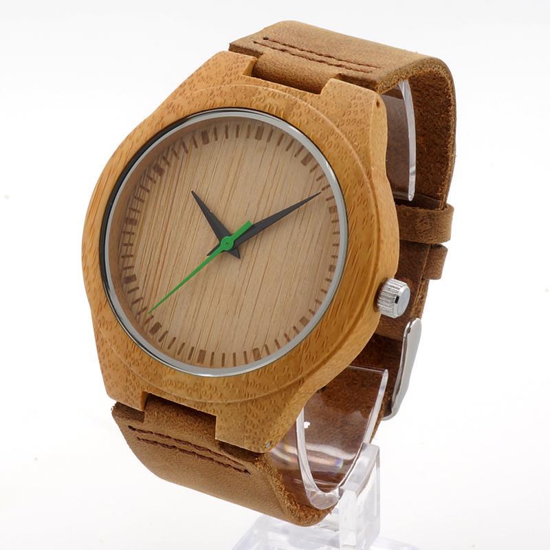 Mais novo Natural Verde Segunda Mão Analógico De Madeira Relógios Casuais de Quartzo Luxo Unisex Relógio com Caixa de Presentes Bobo Pássaro Aceitar Personalização OEM