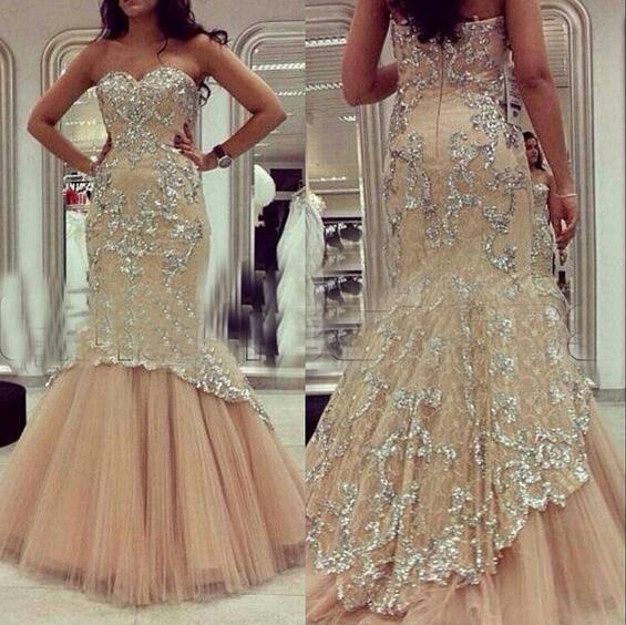 2015 vestidos de fiesta sirena cariño encaje / rebordear / apliques de tul palabra de longitud champán vestidos de noche Dhyz 01