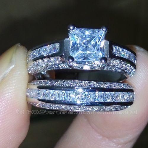 الرجعية الحجم 6-10 الأميرة قص 10K الذهب الأبيض معبأ الأبيض توباز خاتم الزواج مجموعة هدية