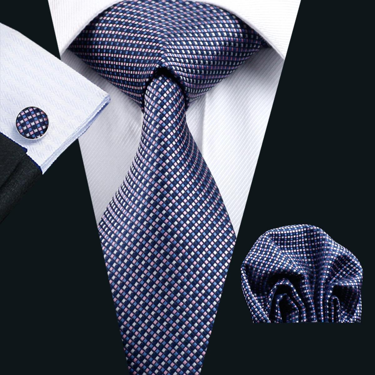 الأزرق التعادل الحرير للرجال الجيب ساحة أزرار أكمام تعيين تحقق نمط رجالي جاكار نسج ربطة العنق الأعمال الرسمي 8.5CM العرض عارضة مجموعة N-0660