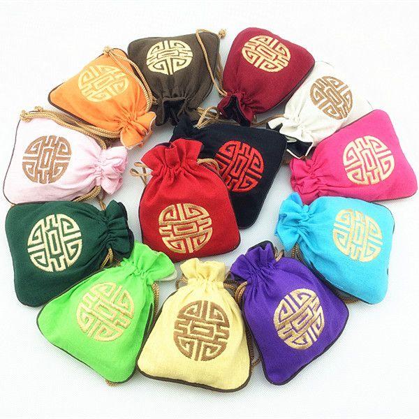 Petit sac de coton chanceux brodé petites pochettes de bijoux Stockage de style chinois cordon de bonbons sachets d'emballage 11 x 14cm 100pcs / lot