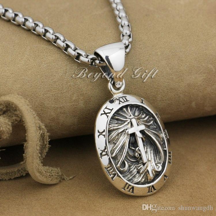 Рим часы круглый 92,5% стерлингового серебра кулон крест панк ювелирные изделия 9r007 (ожерелье 24inch)