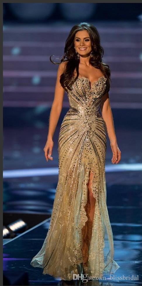 Vestido Miss World Brazil Prom Dresses Crystal Beaded Lace Tulle Evening Gowns Formal Sheath Side Slit Mermaid Celebrity Dresses