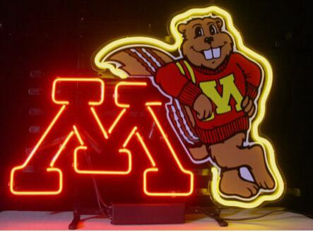 """Minnesota Golden Gophers Neon Sign Custom Handmade Real Glass Tube Football Game Advertising Display Neon signs W/printed Gold Mouse 17""""X14"""""""
