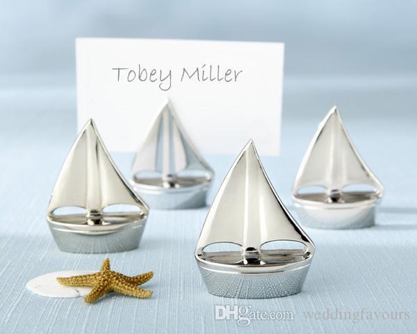 Freies Verschiffen, 12pcs / lot, nautische Hochzeits-Bevorzugungen Segelboot-Platz-Karten-Halter mit der Organzabeutelverpackung Hochzeits-Bevorzugungen