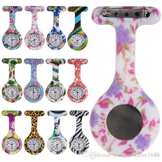 100pcs/lot Fashion Unisex Nurse Doctor Jelly Silicone Rubber camouflage quartz watch Zebra Leopard Prints Pocket candy watches