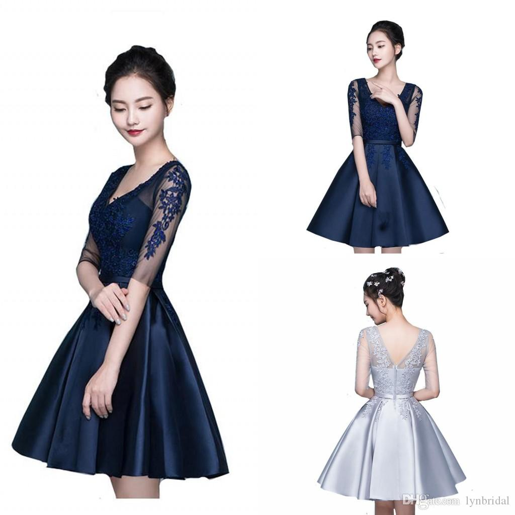 Navy Blue Cocktail Party Dress With Sleeves V Neck Satin Lace Short ...