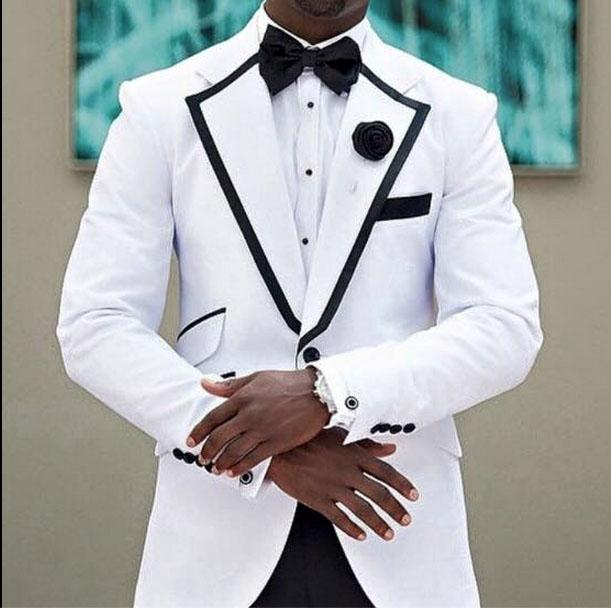 عريس البيع الساخن Tuxedos 2015 White Morning Wedding Suits with Black Lapel Best Mens Prom Formal Occasion Suits (Jacket+Pants+Bow Tie+Hanky)
