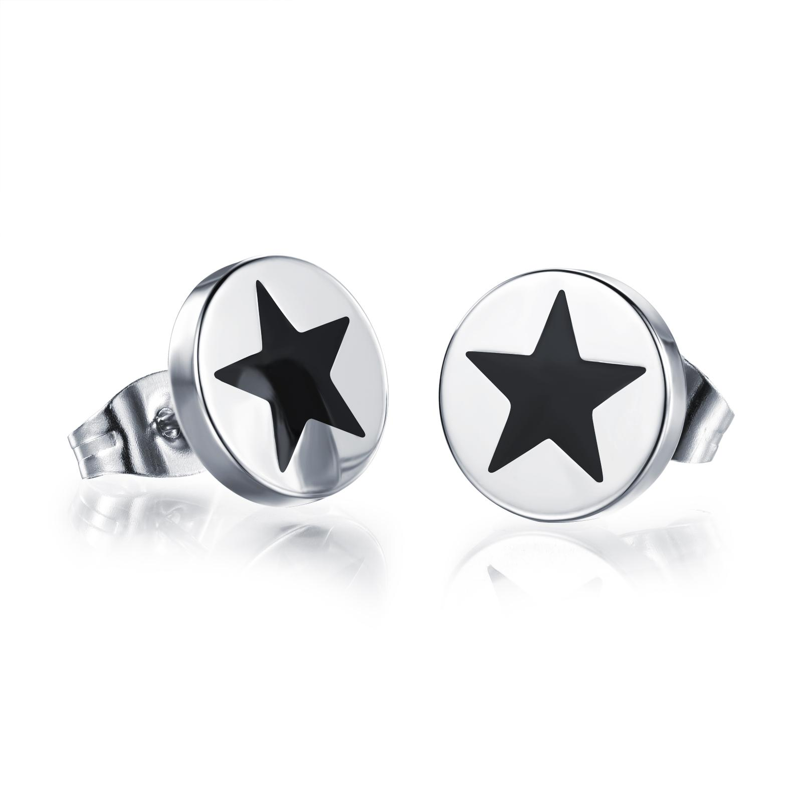 Silver Circle Stud Earrings With Star Design Stainless Steel Star  Statement Earrings Best Gift For Her