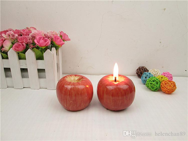 Lovely Cute Design Red Apple Shape Fruit Scented Candle Home Decoration Christmas Candle Birthday Candle Lamp