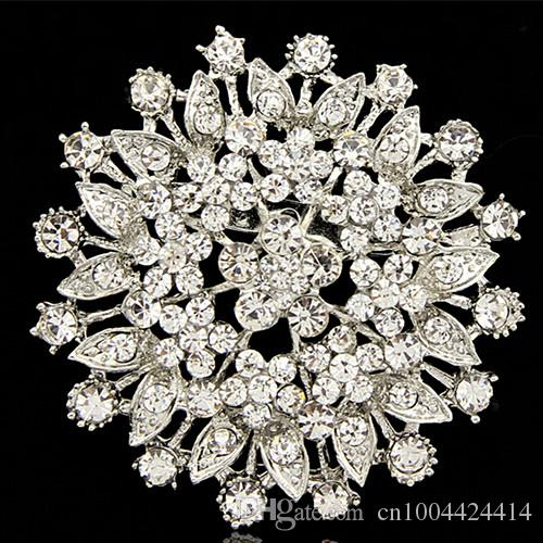sparkling crystals large flower vintage lady brooch factory direct sale wholesale fashion girls pins corsage