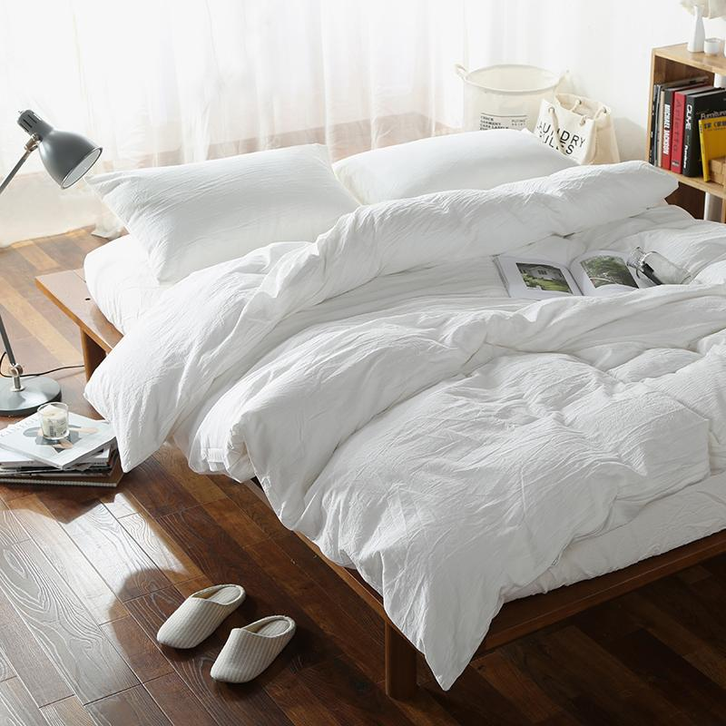 Wholesale- fresh style solid white 4pcs linens bedding sets twin/single/queen/full/double/king size bedsheet sets coverlid