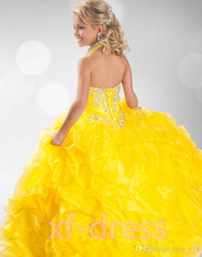 Großhandel Mädchen Festzug Kleid Gelb Blumenmädchenkleid Mädchen ...