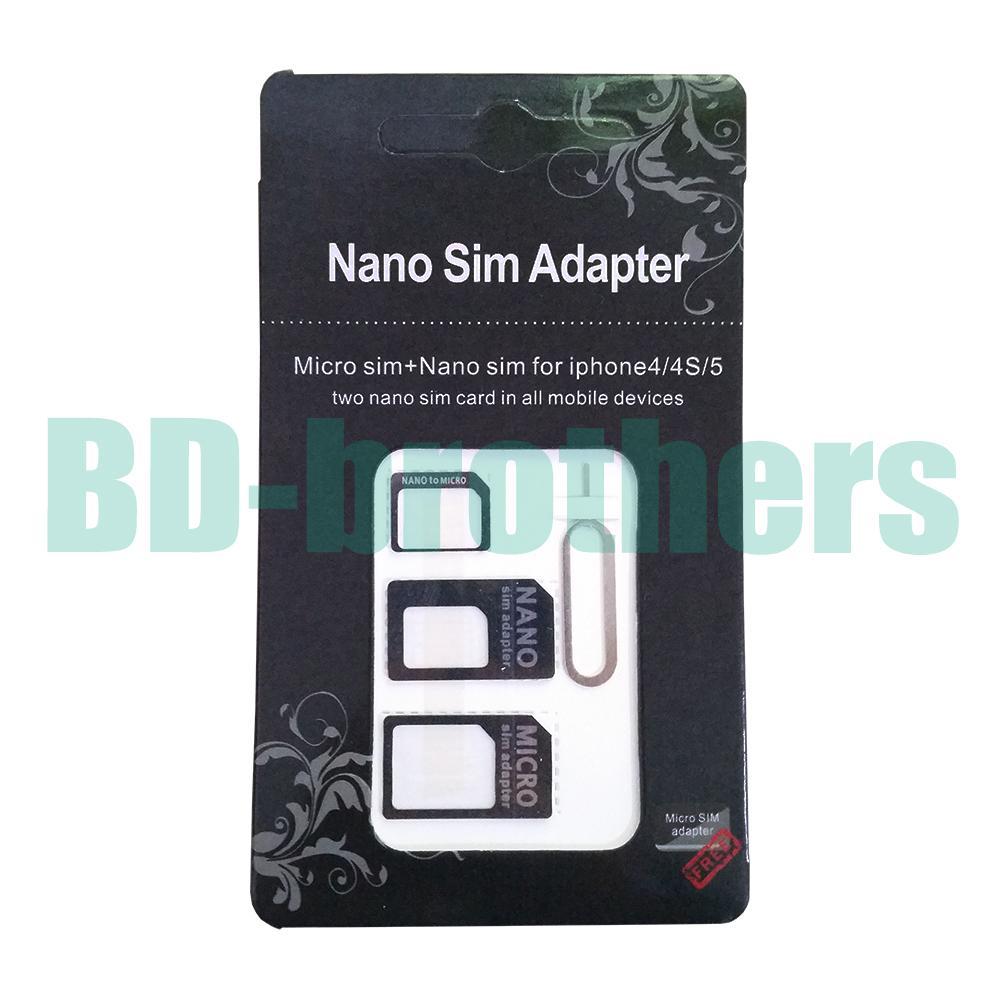 Adaptateur de carte SIM micro nano 4 en 1 noir avec clé à éjection pour iPhone 4G 5 5S 5C Samsung 6G 6plus 1000sets / lot