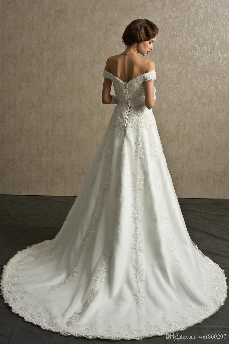 Style wedding dress of the new 2015 A word, the card shoulder style ...