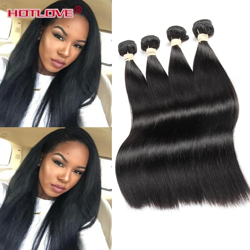 Hotlove Top Quality 8A Silky Straight Human Hair Weave Peruvian Unprocessed Virgin Human Hair Weft 3/4 Pieces Lot
