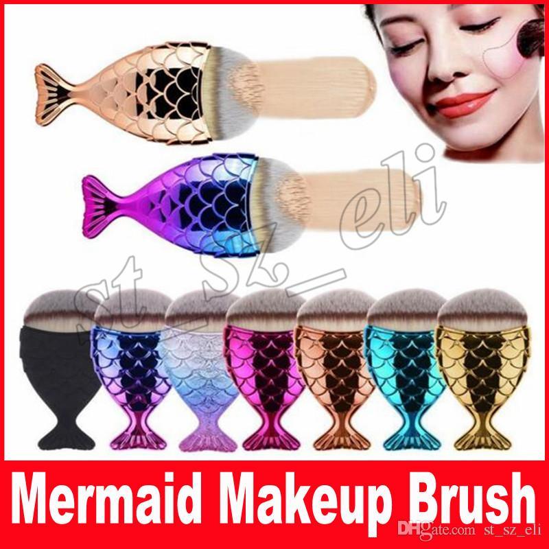 New Mermaid Makeup Brush Powder Contour Fish Scales Mermaidsalon Foundation Brush Gold Rose Gold Silver Blue Black Free Shipping