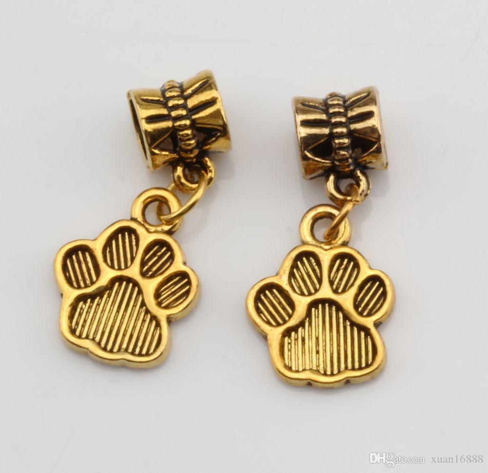 Hot ! 100PCS Antique gold Tone Paw Print Charm Dangle Beads Fit Charm Bracelets DIY Jewelry 12x27mm