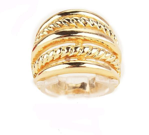 Free Shipping Size 8.5 Vogue Women/Men 18k Gold Filled Chic Round Rings JewelrySize 9
