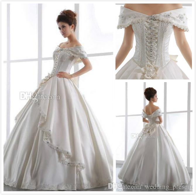 Vintage Ivory Church Wedding Dresses 2015 Off Shoulder Backless Lace Up Beaded Floor Length Satin Ball Gown Sheer Bridal Gown Bow Rhinestone