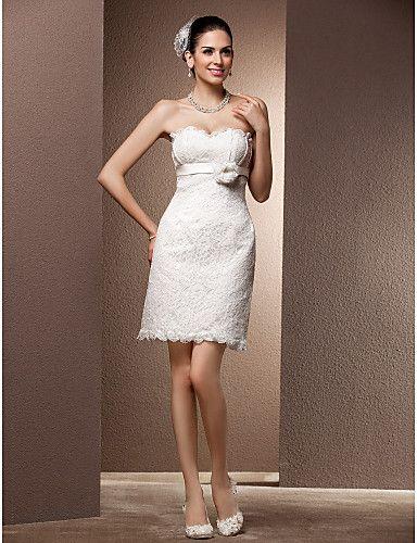 2016 New Fashion Popular Free Shipping Elegant Ivory/Little White Short/Mini Sweetheart Sash Lace Sheath Reception Wedding Dresses 301